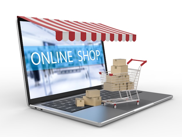 Online shopping with computer notebook and shopping cart