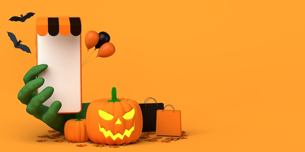 Online shopping with smartphone concept for fall season and halloween copy space