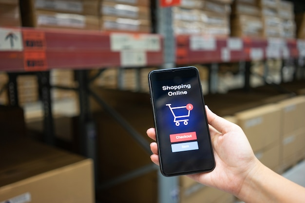 Online shopping with smartphone and shopping bags delivery service