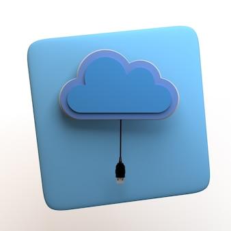 Значок онлайн-хранилища с облаком и usb-кабелем, изолированные на белом фоне. приложение. 3d иллюстрации.