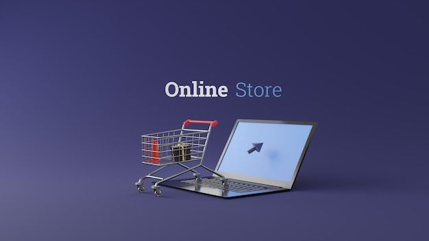 Online store 3d design concept with shopping cart on laptop