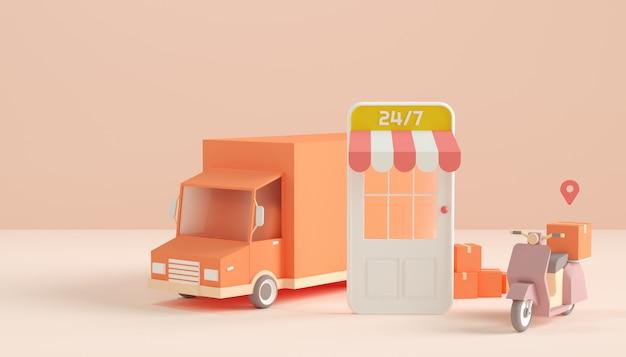 オンラインストアとスクーターとトラックによる配達