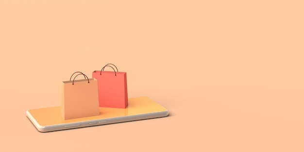 Online store concept via smartphone copy space 3d illustration online shopping