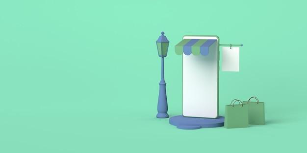 Online store concept via smartphone copy space 3d illustration online shoppingmockup