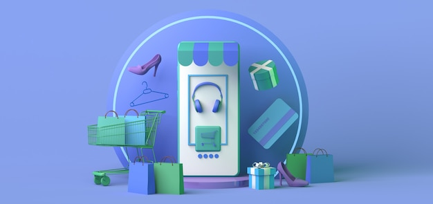 Online store concept with smartphone copy space 3d illustration online shopping