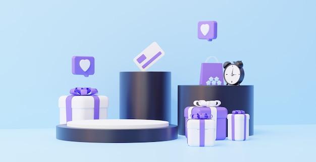 선물이 있는 온라인 상점 연단 모든 상품 3d 렌더링 배치를 위한 판매 개념