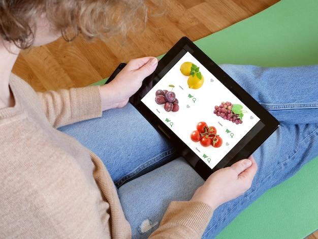 음식 녹색 식료품 가게, 근접 촬영을위한 온라인 슈퍼마켓
