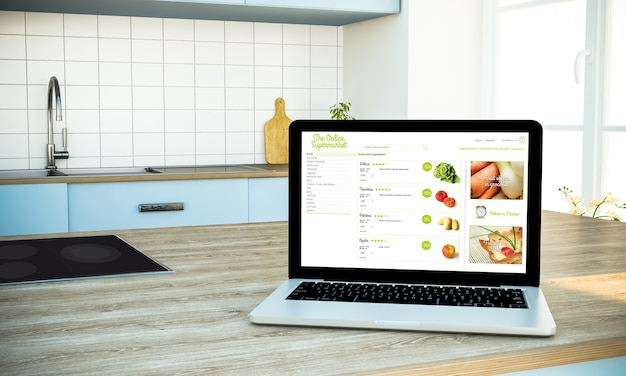 Online supermarket screen laptop on cooking island at kitchen 3d rendering
