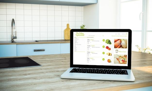 Ноутбук экран онлайн-супермаркета на острове приготовления пищи на кухне 3d-рендеринга