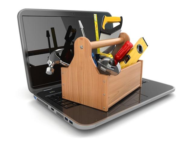Онлайн-поддержка ноутбук и ящик для инструментов на белом изолированном фоне 3d