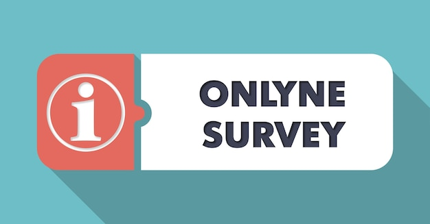 Online survey on blue in flat design with long shadows.