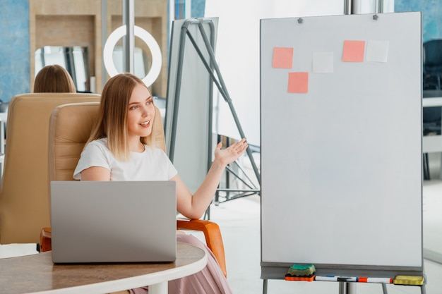 オンライン教師がビデオレッスンを録画します。マネージャーはオンライン会議中にプレゼンテーションを行います。ラップトップとホワイトボードの近くの女性。コーチメンターブロガーインフルエンサーは、空のクラスでライブストリームウェビナーを行います。