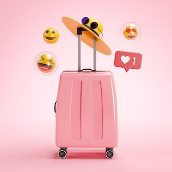 Online travel holiday concept. pink suitcase emoji 3d rendering