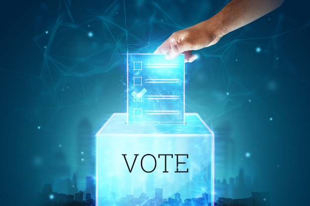 Online voting with voting and e-ballot for electronic voting technology concept