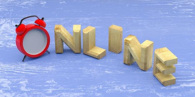 Онлайн слово с часами на деревянном фоне. 3d рендеринг