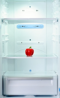 The only one fresh and raw sweet pepper in refrigerator