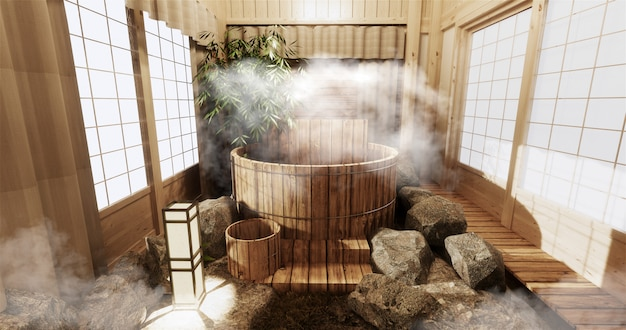 Onsen room interior with wooden bath and decoration wooden japanese style