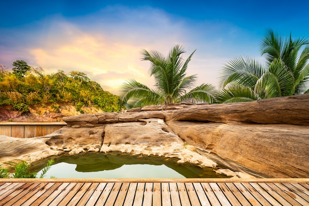 Open air hot spring spa background