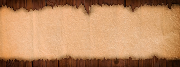 Open ancient scroll on a wooden table, panoramic paper background