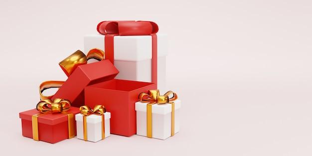 Откройте и закройте подарочную коробку с лентой для юбилейного дня рождения, концепции с рождеством и новым годом, техники 3d-рендеринга.