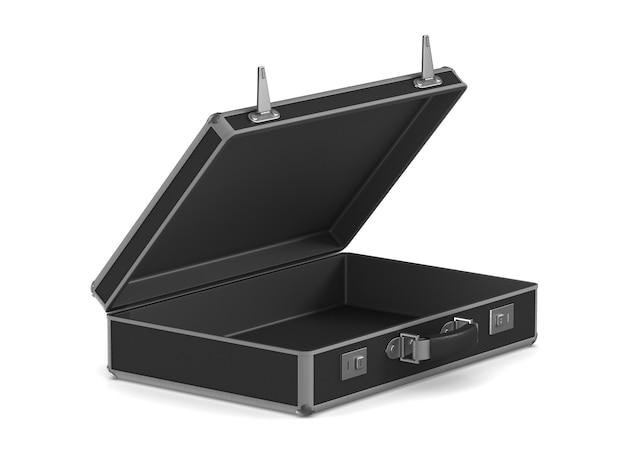 Откройте черную дорожную сумку на белом. изолированные 3d иллюстрации