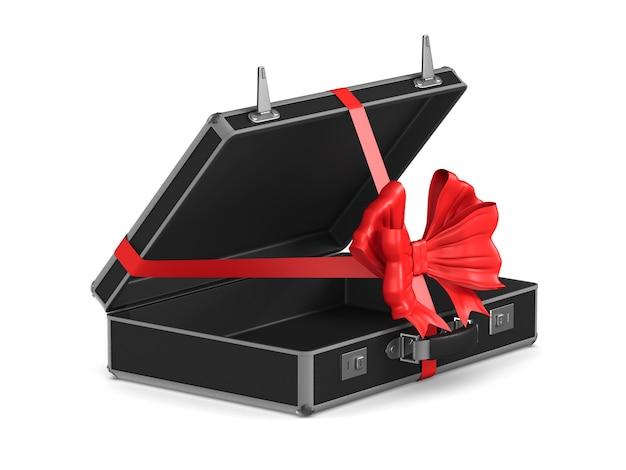 Откройте черную дорожную сумку с красным бантом на белом. изолированные 3d иллюстрации
