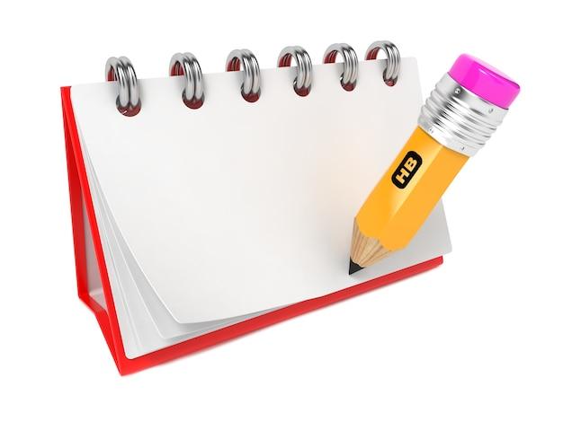 Откройте пустой настольный блокнот с карандашом. изолированные на белом.