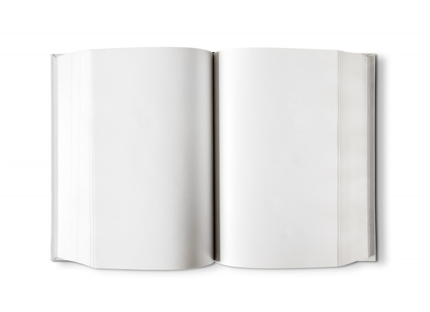 Open blank dictionary, book isolated