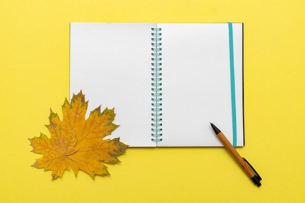 空白のノートブック、日記ペン、カエデの葉を黄色の背景、クローズアップで開きます。ノート、ペン、葉-学校のシンボル。学校のコンセプトに戻ります。