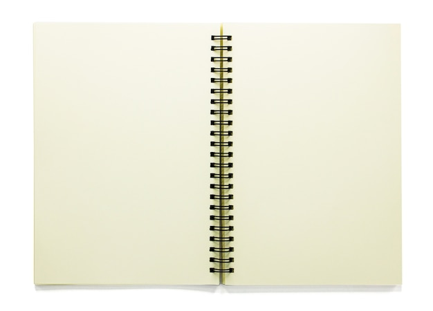 Open blank sketchbook isolated on white  with clipping path