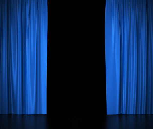 Open blue silk curtains for theater and cinema spotlit light in the center.