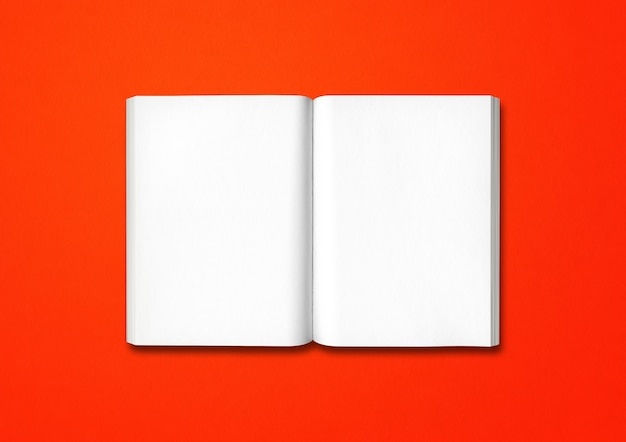 Open book isolated on a red background