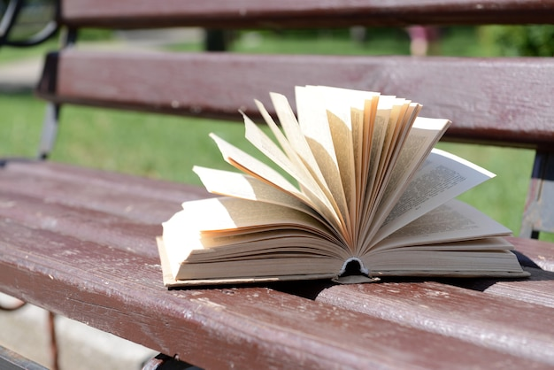 벤치에 펼친 책