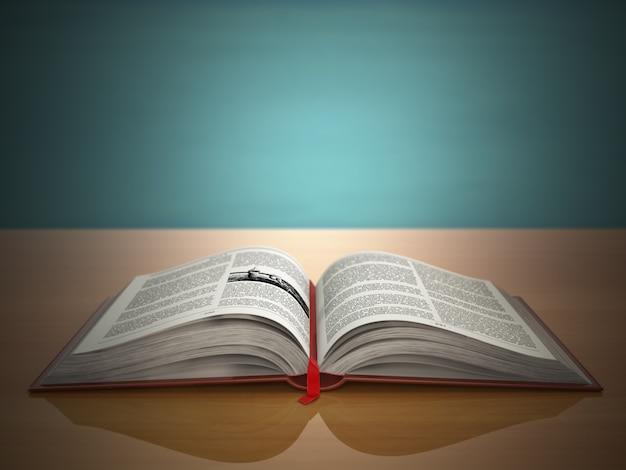 Открытая книга на зеленом фоне старинных 3d