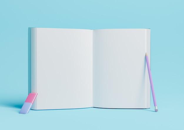 Открытая книга с карандашом и ластиком