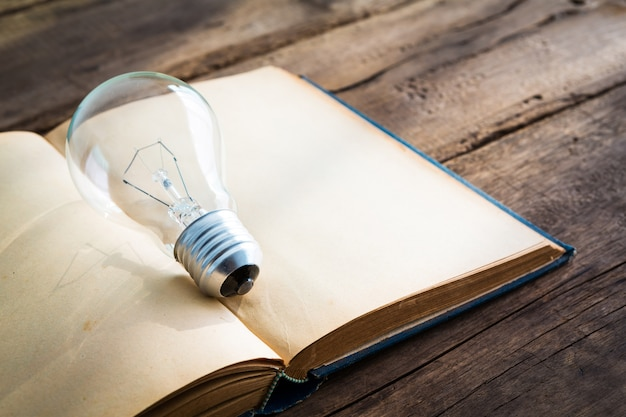 Open book with a light bulb