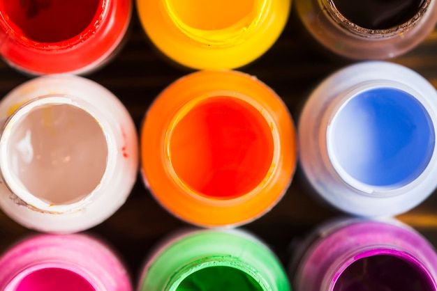 Open bottles of paint