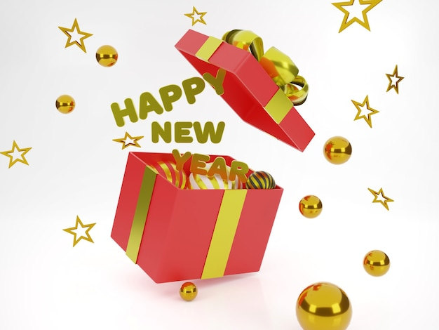 Open box gift happy new year