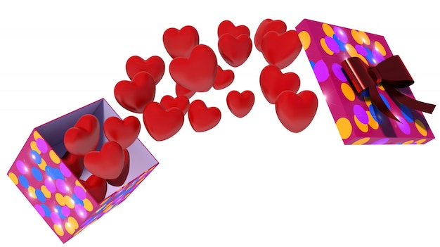 Open box with flying hearts on white background