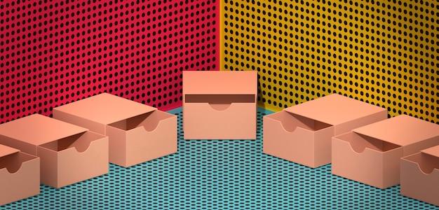 Открытые коричневые картонные коробки