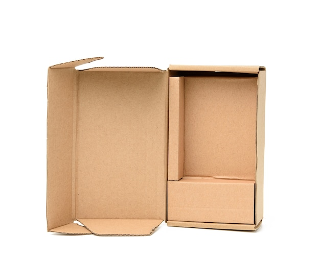 Open brown cardboard paper box with cells isolated on white surface, close up