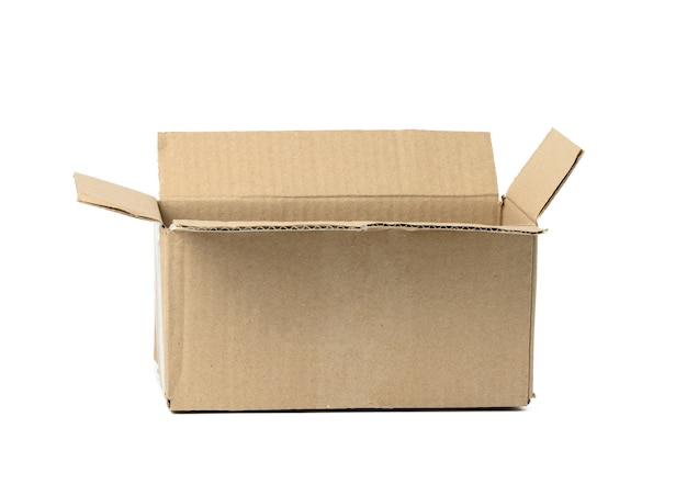 Open brown corrugated cardboard box isolated on white background. eco-friendly packaging of goods