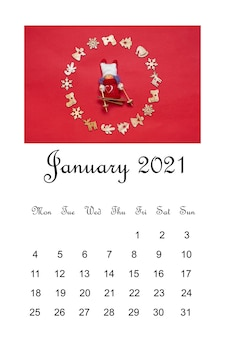 Open calendar january 2021, christmas composition