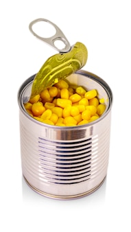 Open can of corn isolated on white background