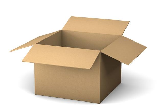 配達のために段ボール箱を開けてください。白い背景で隔離。 3dレンダリング。
