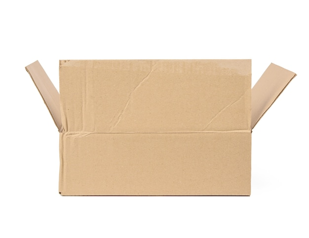 Open cardboard rectangular box made of corrugated brown paper isolated on a white