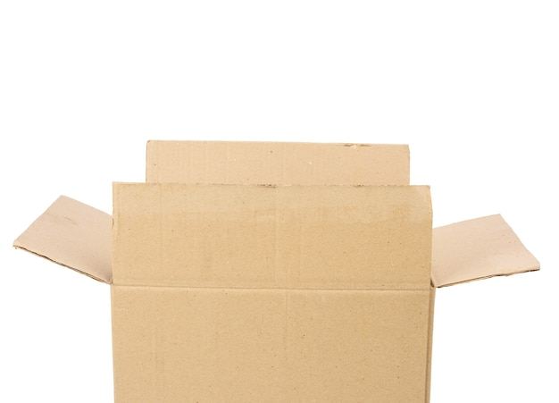 Open cardboard rectangular box made of corrugated brown paper
