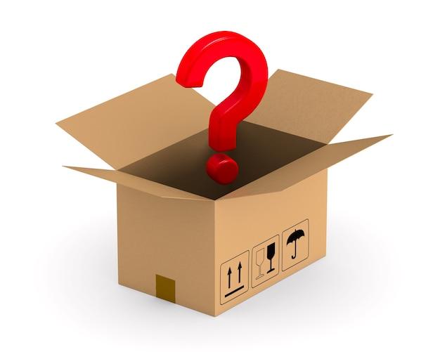 Откройте грузовой ящик и задайте вопрос. изолированный, 3d-рендеринг