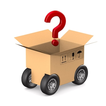 Open cargo box and question with wheel on white background. isolated 3d illustration