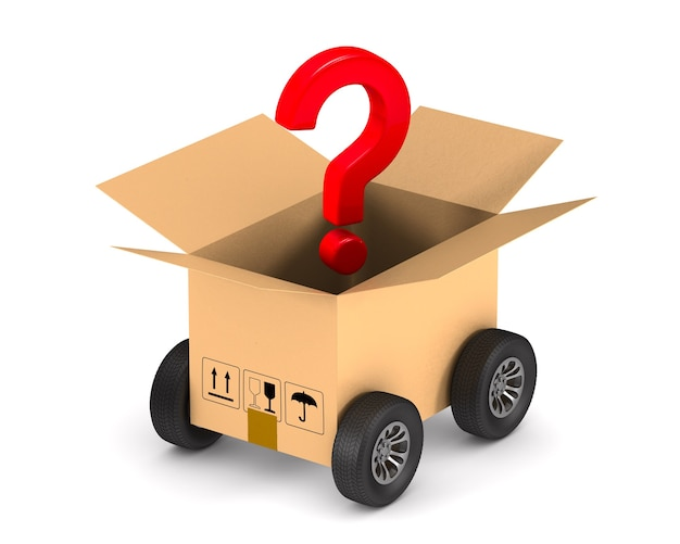 Open cargo box with wheel and question on white space. isolated 3d illustration